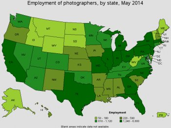 Highest Level of Employment Photographers 2014 BLS
