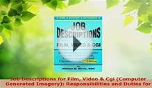 Read Job Descriptions for Film Video Cgi Computer